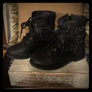 Little girls Toddler black combat boots